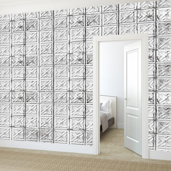 Papier peint brooklyn tins effet de mati re carreaux blancs - Papier peint effet matiere ...