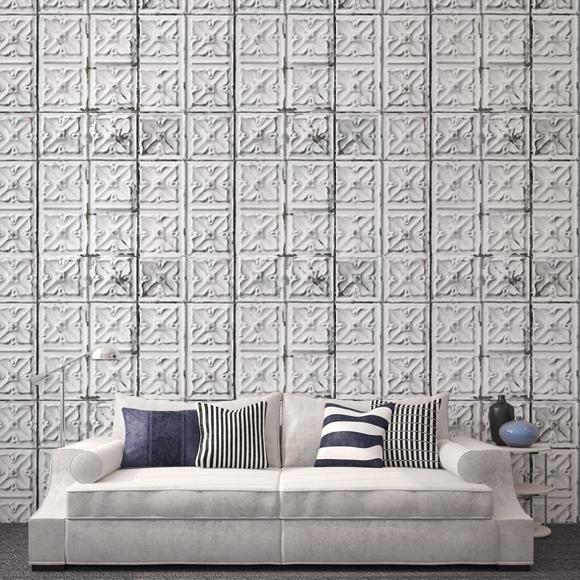 papier peint brooklyn tins effet de mati re carreaux blancs. Black Bedroom Furniture Sets. Home Design Ideas
