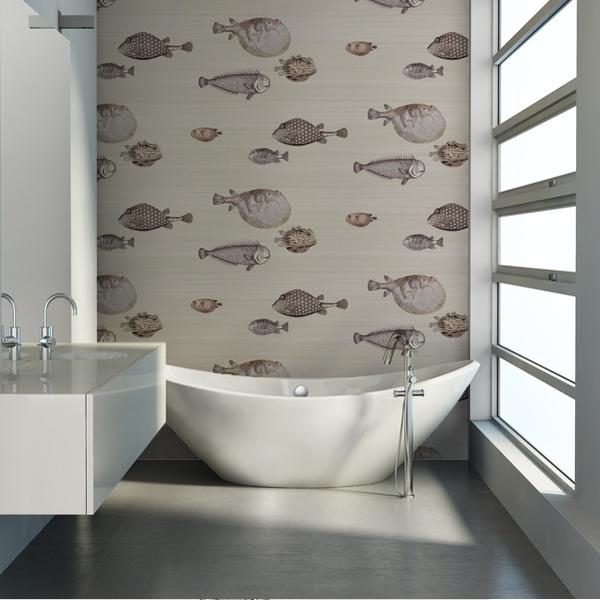 papier peint mer et marin beige acquario cole and son au fil des couleurs. Black Bedroom Furniture Sets. Home Design Ideas