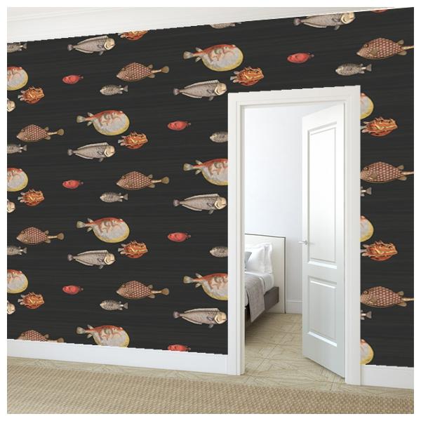 papier peint mer et marin taupe acquario cole and son au fil des couleurs. Black Bedroom Furniture Sets. Home Design Ideas
