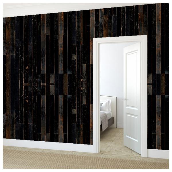 Papier peint imitation bois noir scrapwood nlxl by arte for Papier peint facon bois