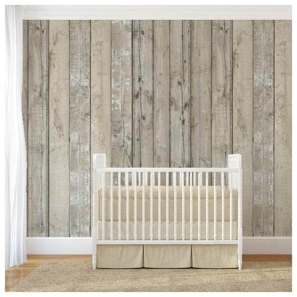 Papier peint planches en bois blanc scrapwood - Papier peint planche de bois ...