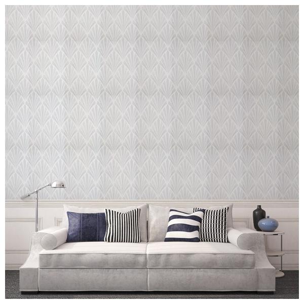 papier peint deco fan motifs gris inspiration art d co. Black Bedroom Furniture Sets. Home Design Ideas