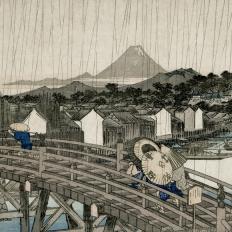 Décor mural - Sandberg - Hiroshiges Regnskyar - Grey