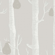 Papier peint - Cole and Son - Woods and Pears - Grey White & Silver