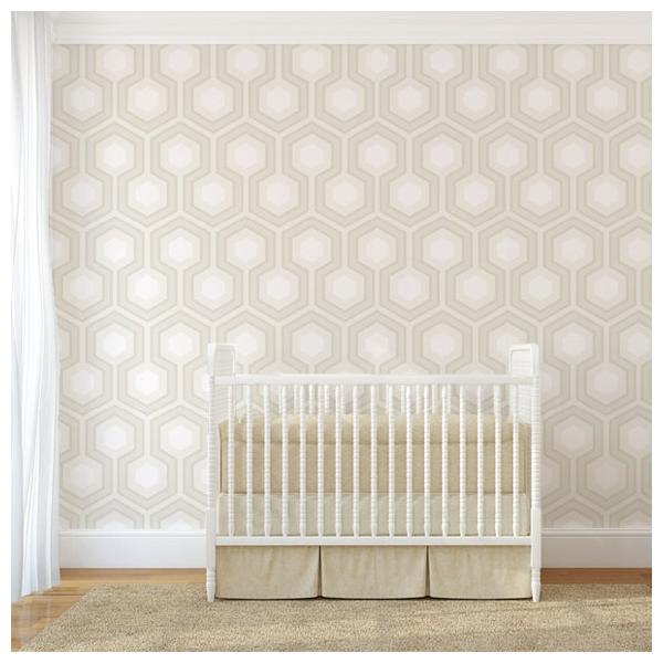 papier peint hick s grand hexagones blancs et gris grand. Black Bedroom Furniture Sets. Home Design Ideas