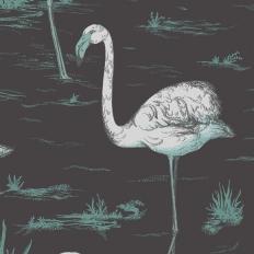 Papier peint - Cole and Son - Flamingos - Teal Silver & Black