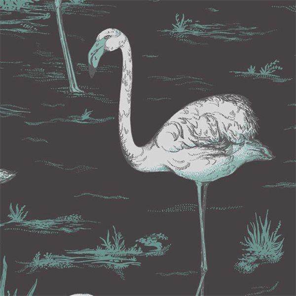 papier peint animaux noir flamingos cole and son au fil des couleurs. Black Bedroom Furniture Sets. Home Design Ideas