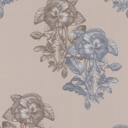 Papier peint - Cole and Son - Pansee - Grey Taupe & Silver