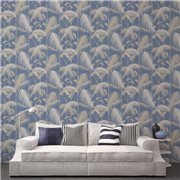 Papier peint - Cole and Son - Palm Jungle - Straw & Blue