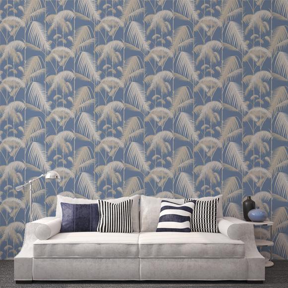 Papier peint jungle bleu palm jungle cole and son au fil des couleurs - Au fil des couleurs ...