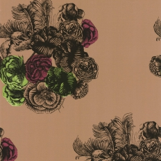 Papier peint - Cole and Son - Peonie - Brown Green & Purple