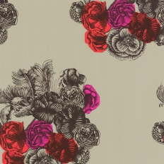Papier peint - Cole and Son - Peonie - Olive Pink & Red