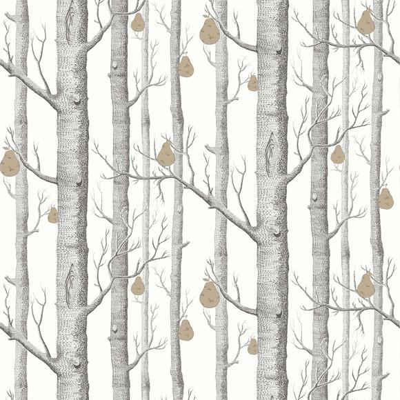 papier peint woods & pears – forêt noire & blanche et poire dorée