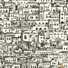 Papier peint - Cole and Son - Mediterranea - Black White & Gold