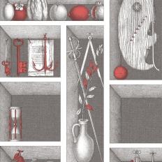 Papier peint - Cole and Son - Nicchie - Black, White & Red