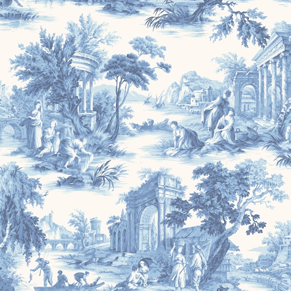 papier peint bleu villandry toile de jouy cole son au fil des couleurs. Black Bedroom Furniture Sets. Home Design Ideas