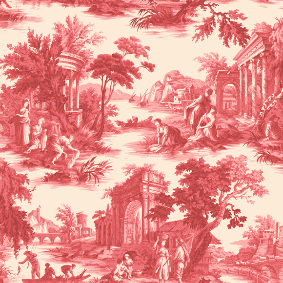 papier peint rouge villandry toile de jouy cole son au fil des couleurs. Black Bedroom Furniture Sets. Home Design Ideas