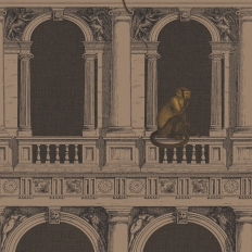 Papier peint - Cole and Son - Procuratie E Scimmie - Linen & Gold