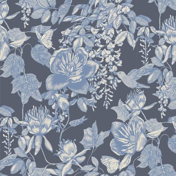papier peint bleu fleurs motifs colibris et papillons tivoli cole son au fil des couleurs. Black Bedroom Furniture Sets. Home Design Ideas