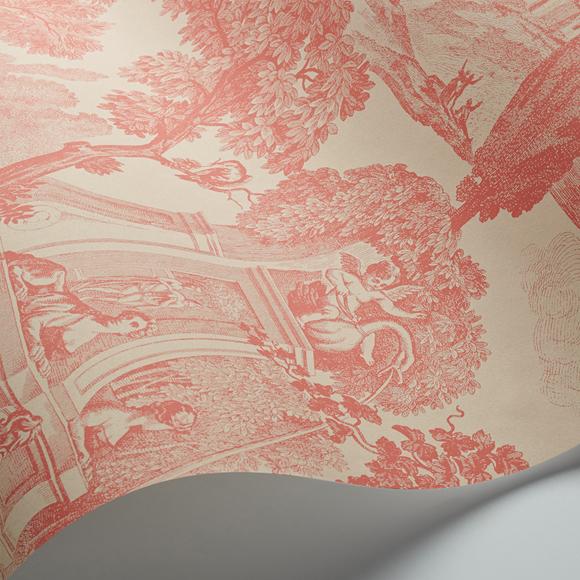 papier peint rouge animaux toile de jouy versailles cole son au fil des couleurs. Black Bedroom Furniture Sets. Home Design Ideas