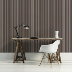 Papier peint - Cole and Son - Jubilee Stripe - Charcoal Grey & Silver