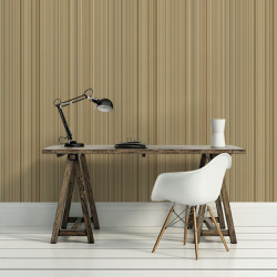 Papier peint - Cole and Son - Chepstow Stripe - Beige, Gold & Gilver
