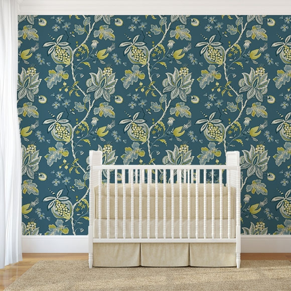 papier peint floral bleu paon donegal. Black Bedroom Furniture Sets. Home Design Ideas