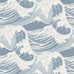 Papier peint - Cole and Son - Great Wave - Blue and Cream