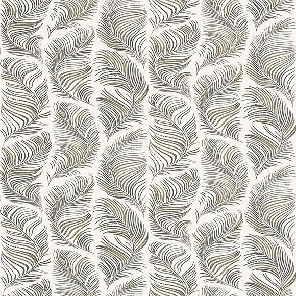 Papier peint noir et blanc motifs plumes Grace de Sandberg - Au fil ...