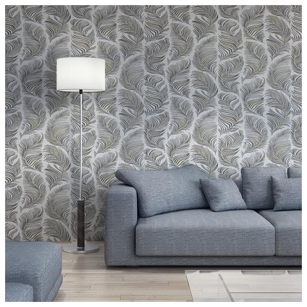 papier peint noir et blanc motifs plumes grace de sandberg. Black Bedroom Furniture Sets. Home Design Ideas