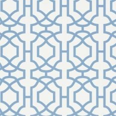 Papier peint - Thibaut - Alston Trellis - Blue and White