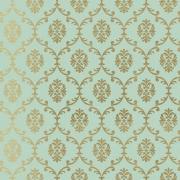 Papier peint - Thibaut - Bastille - Metallic Gold on Seafoam