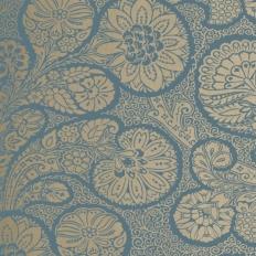Papier peint - Thibaut - Troubadour - Metallic on Peacock Blue
