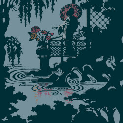 Papier peint - Cole and Son - Geisha - Light Teal and Silver