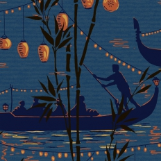 Papier peint - Cole and Son - Gondola - Teal and Amber