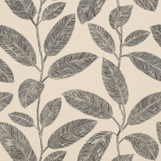 Papier peint - Thibaut - Komodo Leaves - Black and Flax