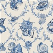 Papier peint - Thibaut - Sumba Shell - Blue on Natural