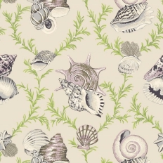 Papier peint - Thibaut - Sumba Shell - Grey on Natural