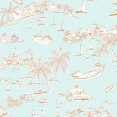 Papier peint - Thibaut - Bahamas - Coral and Turquoise
