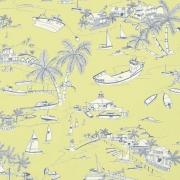 Papier peint - Thibaut - Bahamas - Citron and Navy