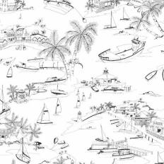 Papier peint - Thibaut - Bahamas - Black and White