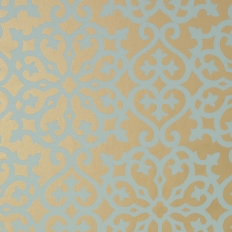 Papier peint - Thibaut - Allison - Aqua on Metallic Gold