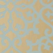 Papier peint - Thibaut - Allison - Aqua on Metallic Gold