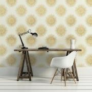 Papier peint - Thibaut - Bahia - Metallic Gold on Cream