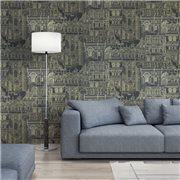 Papier peint - Thibaut - Palazzo - Metallic Gold on Black