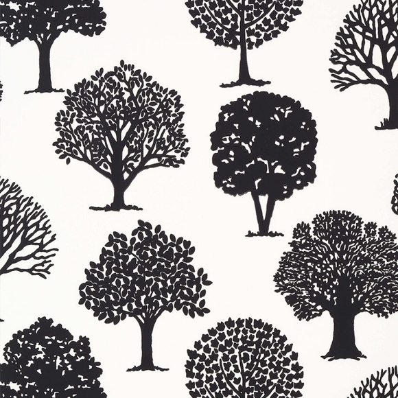 Papier peint - Thibaut - Russell Square - Black and White