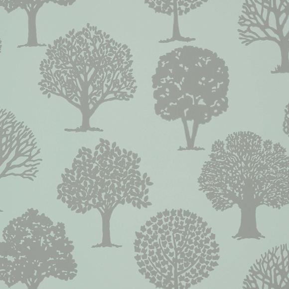 Papier peint vert motif d arbres russell square thibaut - Papier peint motif arbres ...