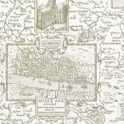 Papier peint - Thibaut - London Map - Green on Cream