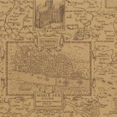 Papier peint - Thibaut - London Map - Tobacco